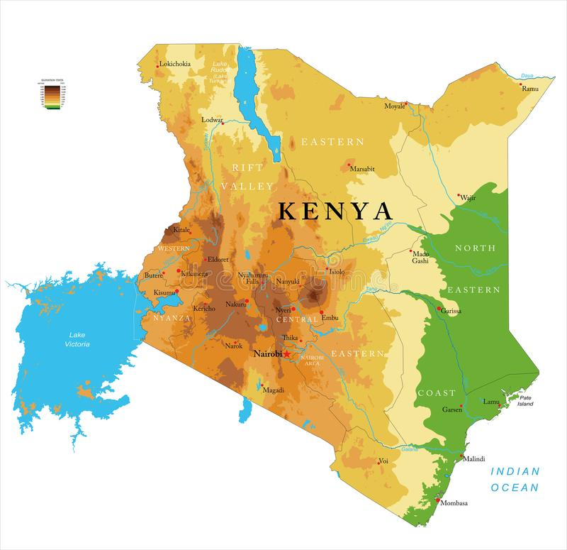Carte physique du Kenya illustration libre de droits