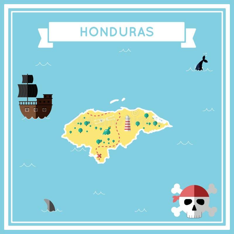 Carte plate de trésor du Honduras illustration libre de droits
