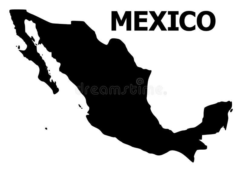 Carte plate de vecteur du Mexique avec le nom illustration de vecteur