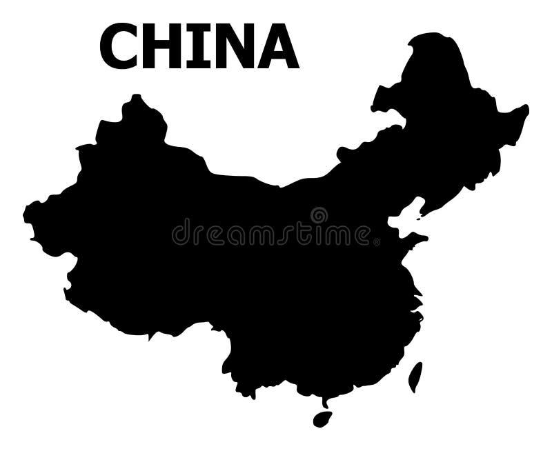 Carte plate de vecteur de la Chine avec le nom illustration stock