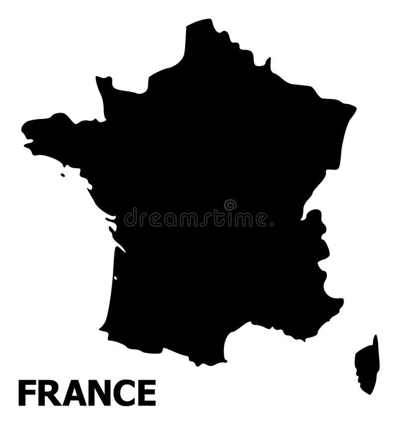 Carte plate de vecteur de la France avec le nom illustration stock