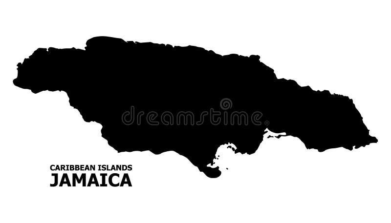 Carte plate de vecteur de la Jamaïque avec le nom illustration stock
