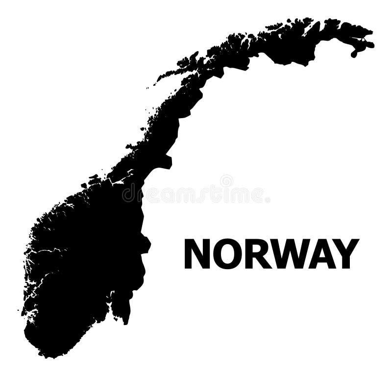 Carte plate de vecteur de la Norvège avec le nom illustration stock