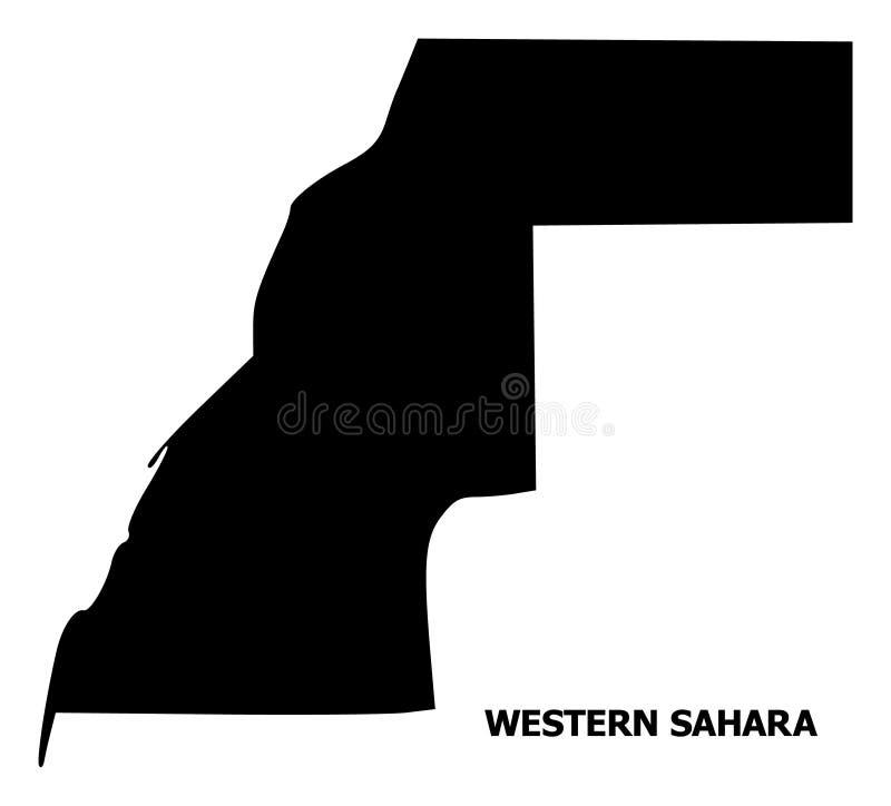 Carte plate de vecteur de la Sahara occidental avec la légende illustration de vecteur