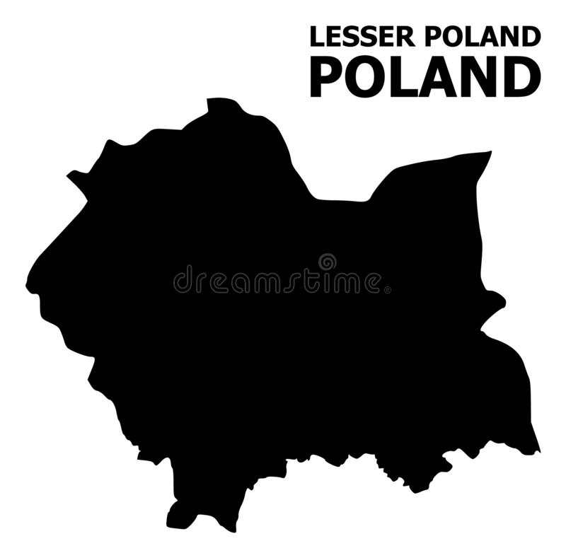 Carte plate de vecteur de Lesser Poland Province avec le nom illustration stock