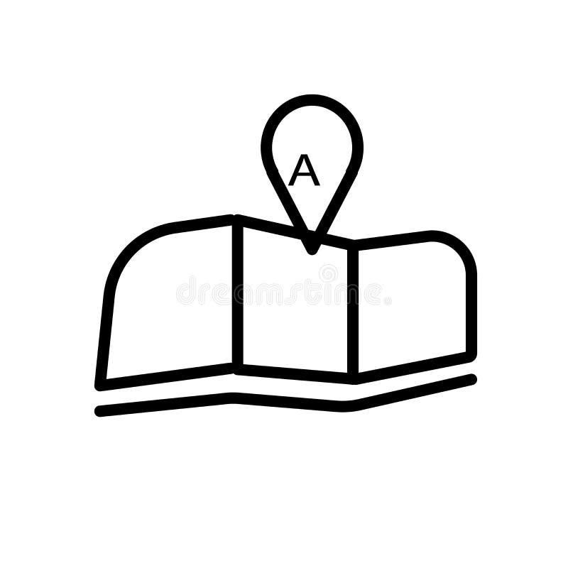 Carte pliée avec le signe et le symbole de vecteur d'icône de marque de position d'isolement sur le fond blanc, carte pliée avec  illustration de vecteur