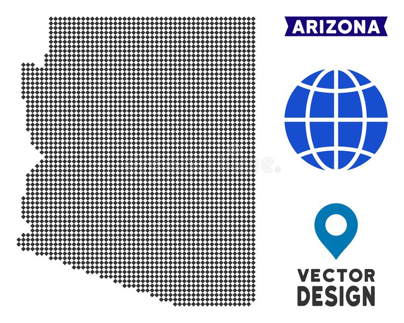 Carte pointillée d'état de l'Arizona illustration de vecteur