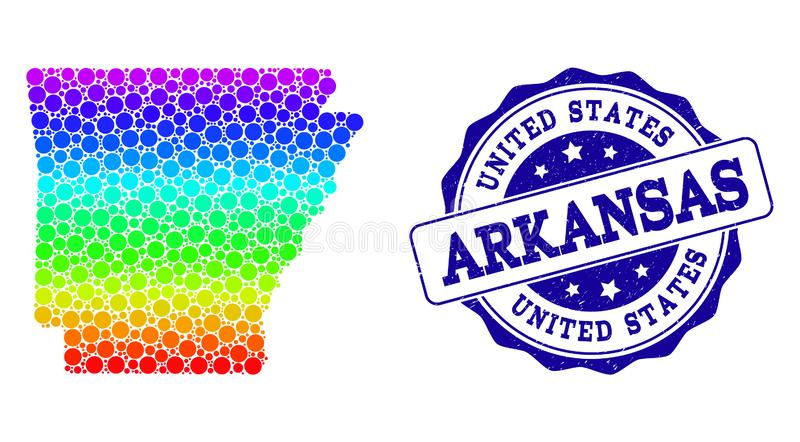 Carte pointillée d'arc-en-ciel d'état de l'Arkansas et de joint grunge de timbre illustration de vecteur