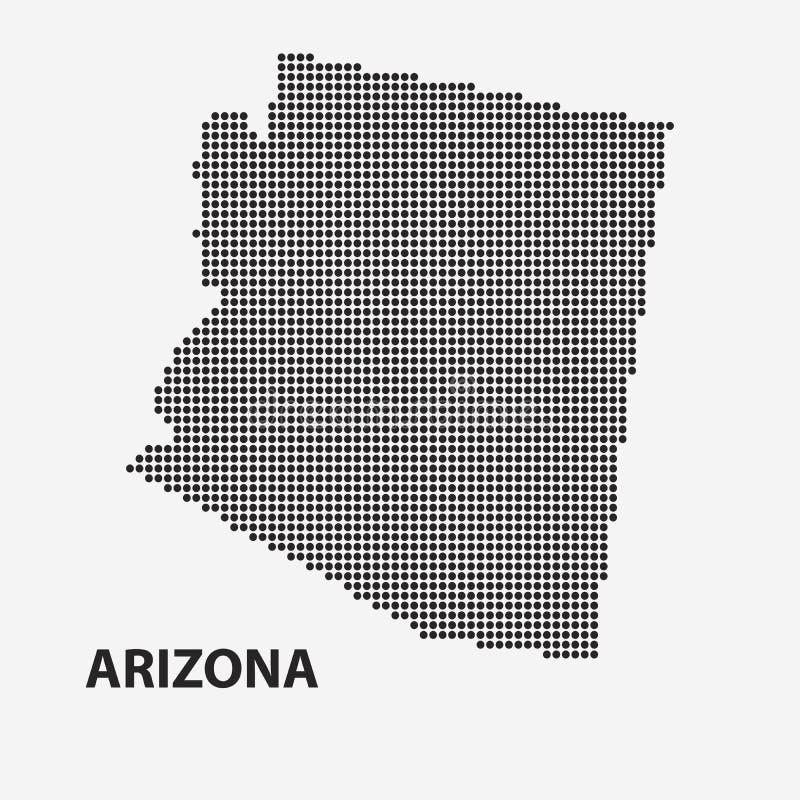 Carte pointillée de l'état Arizona Illustration de vecteur illustration de vecteur