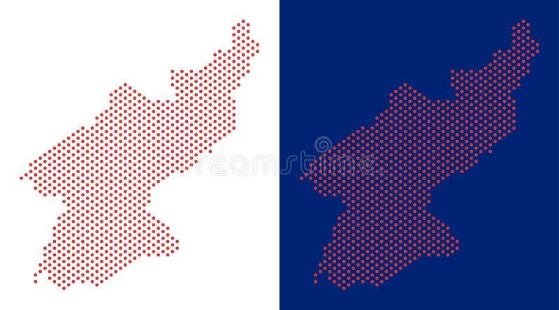 Carte pointillée de la Corée du Nord illustration de vecteur