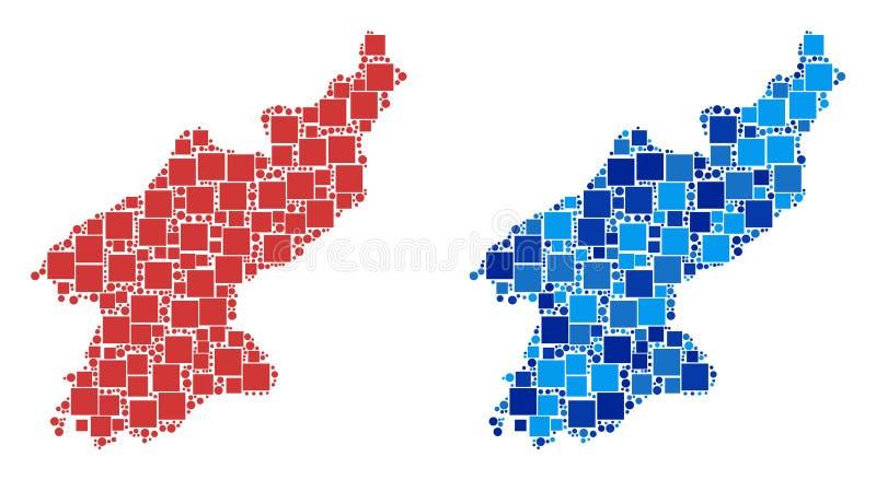 Carte pointillée de la Corée du Nord avec la version bleue illustration de vecteur