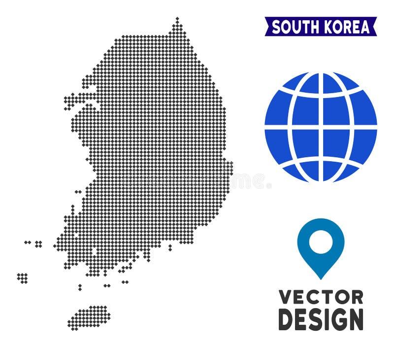 Carte pointillée de la Corée du Sud illustration stock