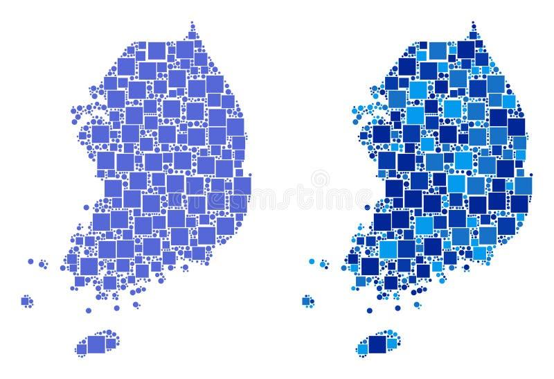 Carte pointillée de la Corée du Sud avec la variante bleue illustration de vecteur