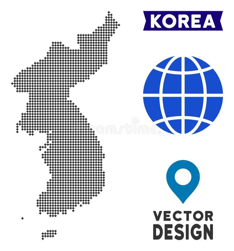 Carte pointillée de la Corée du Sud du nord et illustration de vecteur