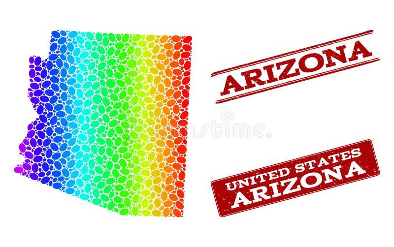 Carte pointillée de spectre d'état de l'Arizona et de joints grunges de timbre illustration stock