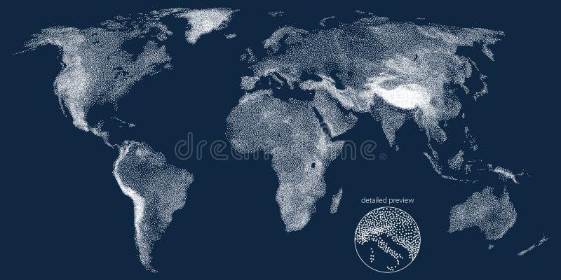 Carte pointillée de vecteur de soulagement du monde illustration libre de droits
