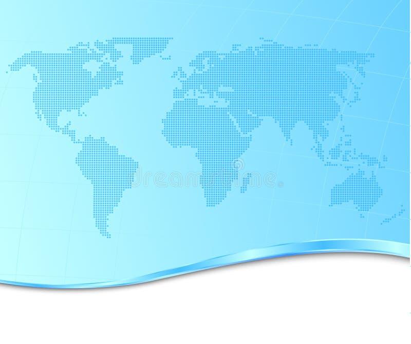 Carte pointillée du monde sur un fond technologique illustration de vecteur
