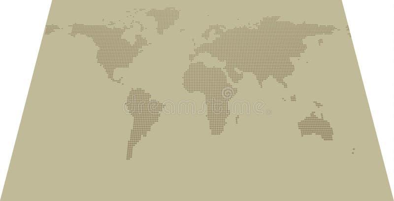 Carte pointillée isométrique 2000x1000 sur le fond kaki illustration de vecteur