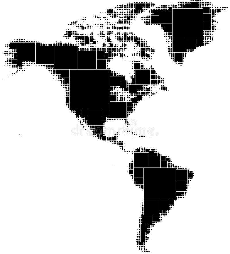 Carte pointillée noire et blanche de nord et de l'Amérique du Sud Se composant des places sans à-coup décroissantes de la taille  illustration stock