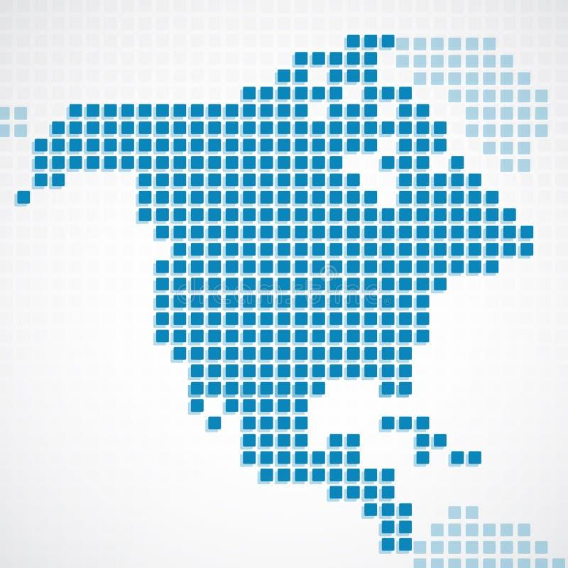 Carte pointillée par bleu continent de l'Amérique du Nord illustration stock