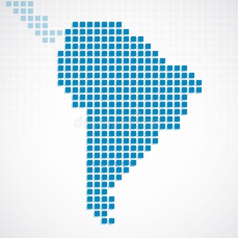 Carte pointillée par bleu continent de l'Amérique du Sud illustration stock