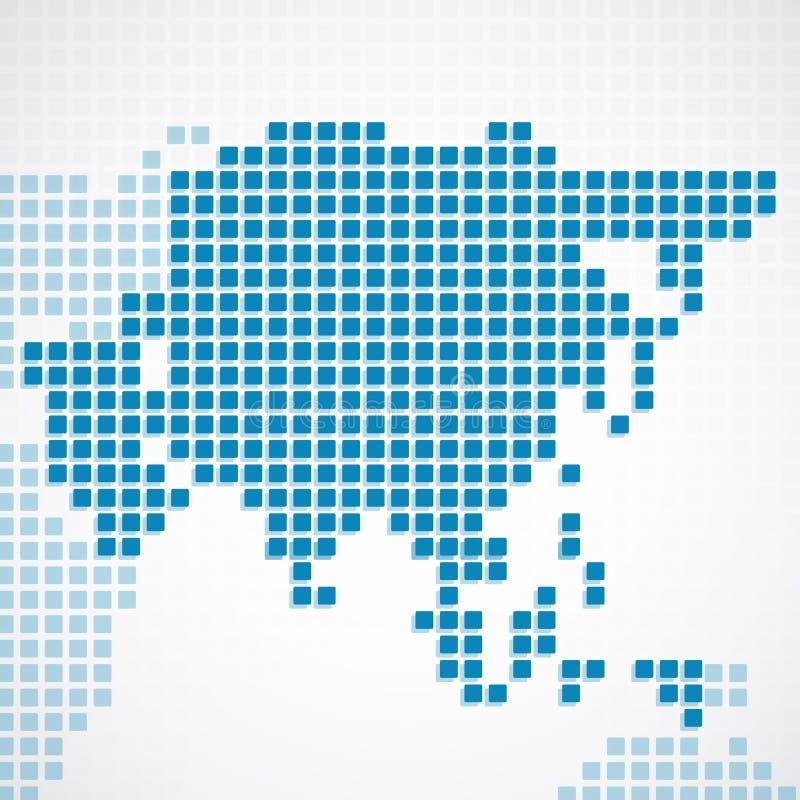 Carte pointillée par bleu continent de l'Asie illustration stock