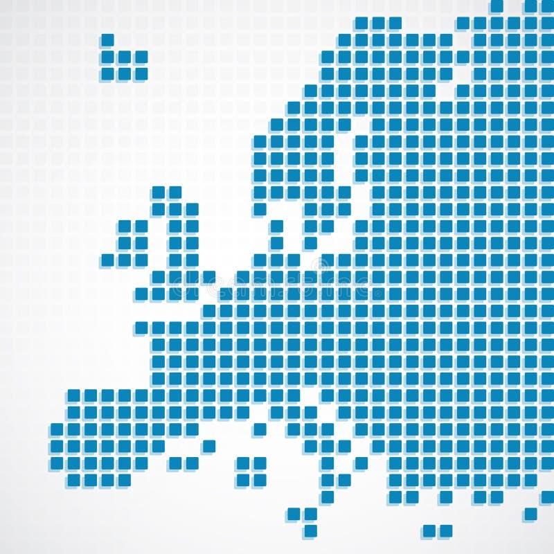 Carte pointillée par bleu continent de l'Europe illustration stock