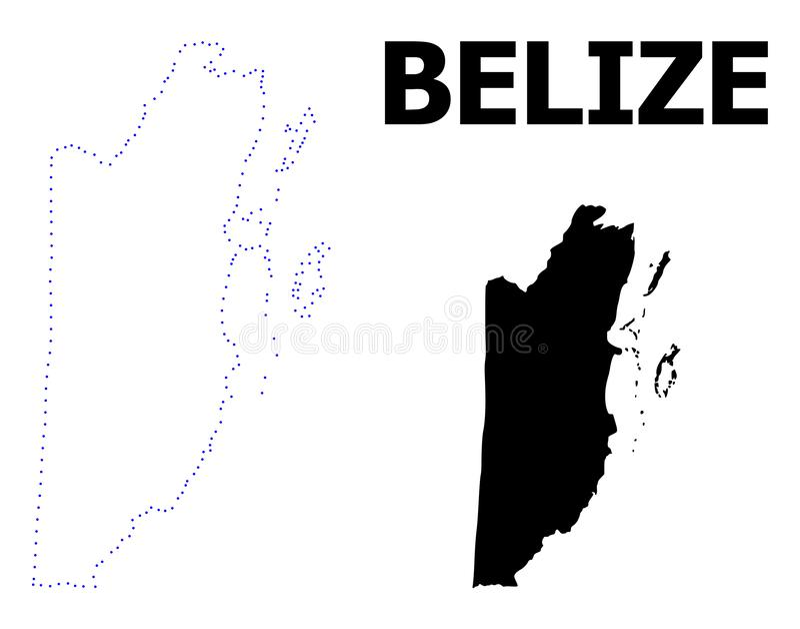 Carte pointillée par découpe de vecteur de Belize avec la légende illustration libre de droits