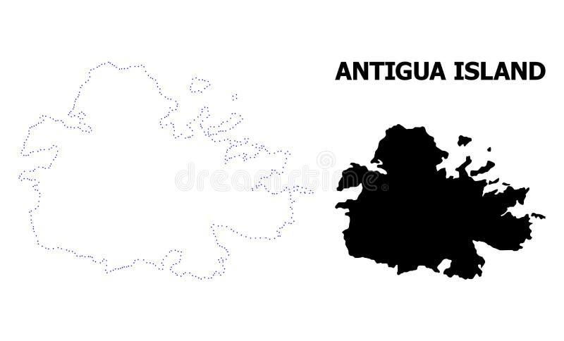 Carte pointillée par découpe de vecteur d'île de l'Antigua avec la légende illustration stock