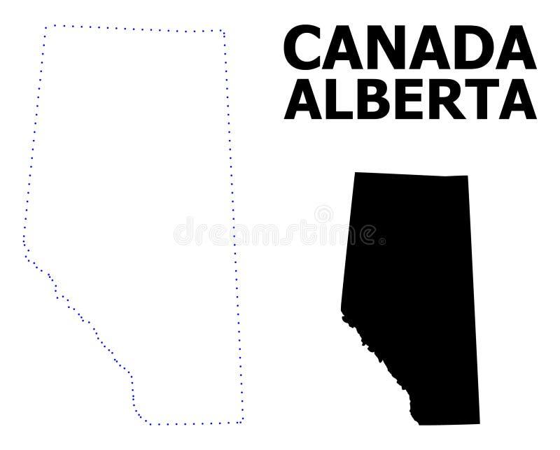 Carte pointillée par découpe de vecteur d'Alberta Province avec le nom illustration de vecteur
