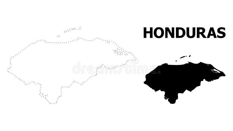 Carte pointillée par découpe de vecteur du Honduras avec la légende illustration stock
