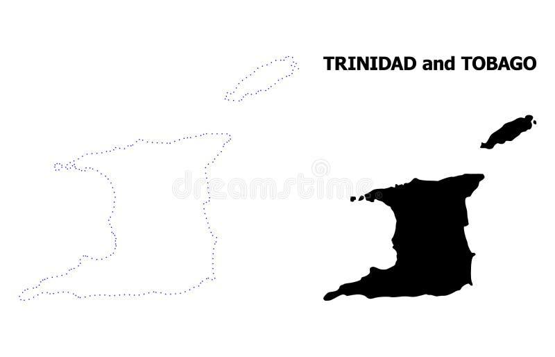 Carte pointillée par découpe de vecteur du Trinidad-et-Tobago avec la légende illustration libre de droits