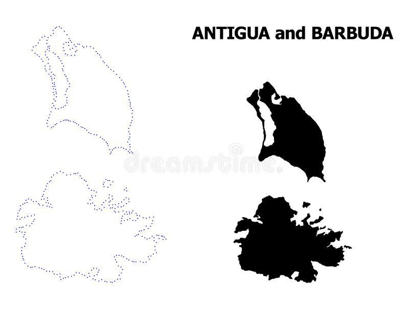 Carte pointillée par découpe de vecteur de l'Antigua-et-Barbuda avec la légende illustration stock
