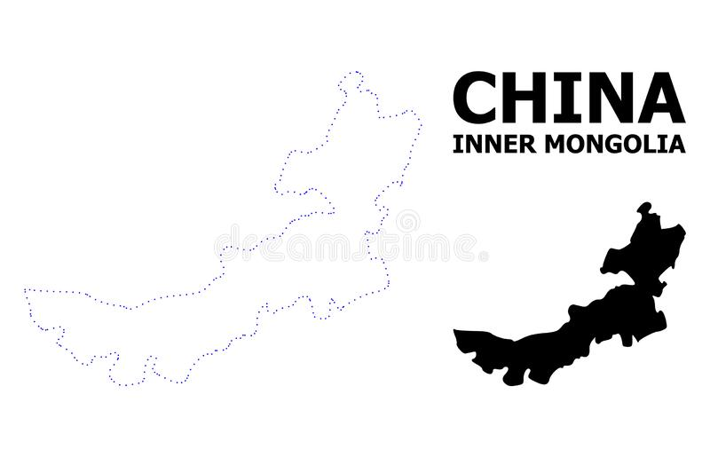 Carte pointill?e par d?coupe de vecteur de l'Inner Mongolia avec la l?gende illustration stock