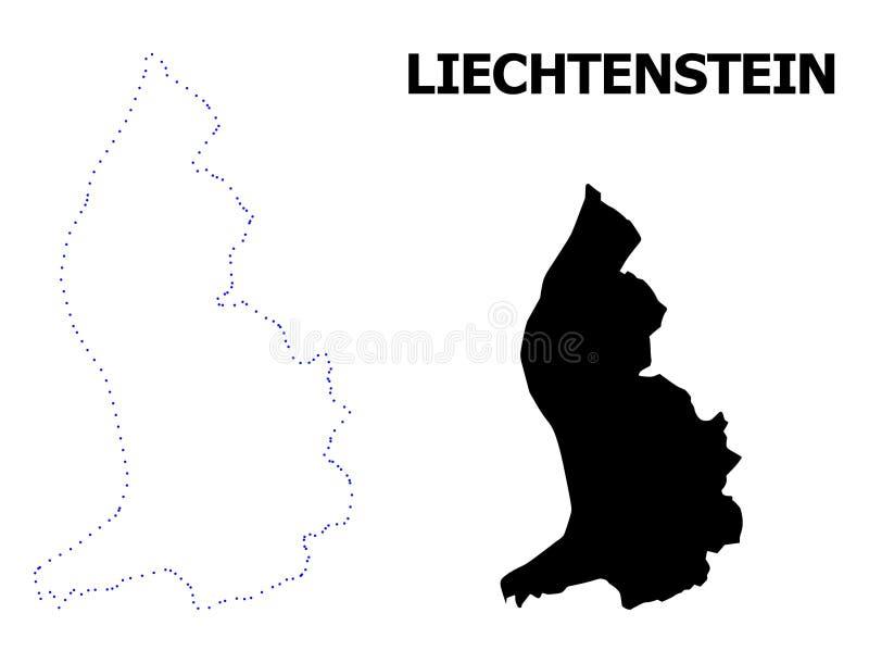 Carte pointillée par découpe de vecteur de la Liechtenstein avec la légende illustration libre de droits