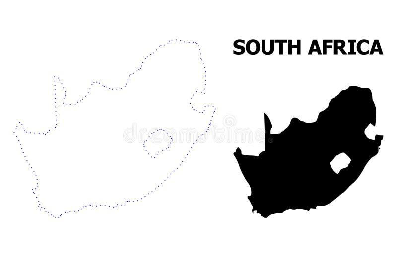 Carte pointillée par découpe de vecteur de la République sud-africaine avec le nom illustration stock