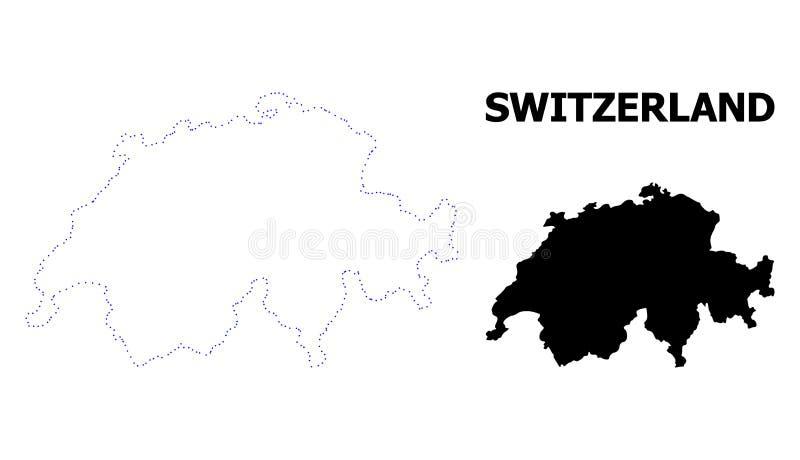 Carte pointillée par découpe de vecteur de la Suisse avec la légende illustration libre de droits