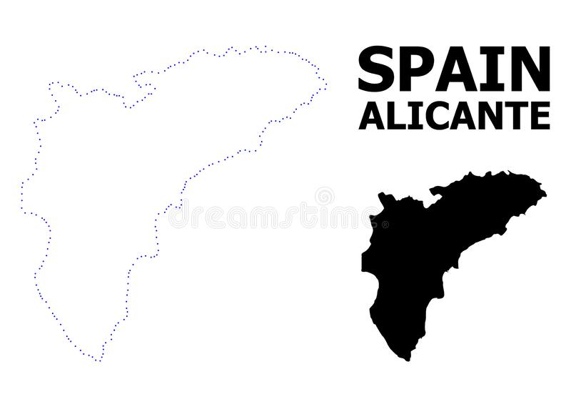 Carte pointillée par découpe de vecteur de province d'Alicante avec la légende illustration stock