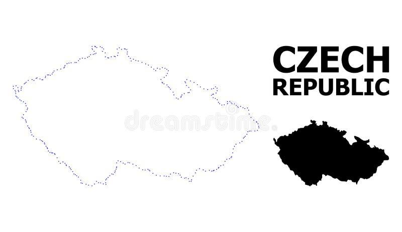 Carte pointillée par découpe de vecteur de République Tchèque avec la légende illustration de vecteur