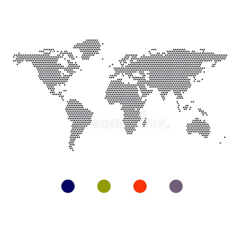Carte pointillée par vecteur du monde Les points dirigent la couleur quatre illustration stock