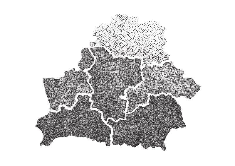 Carte pointillée tirée par la main du Belarus illustration libre de droits