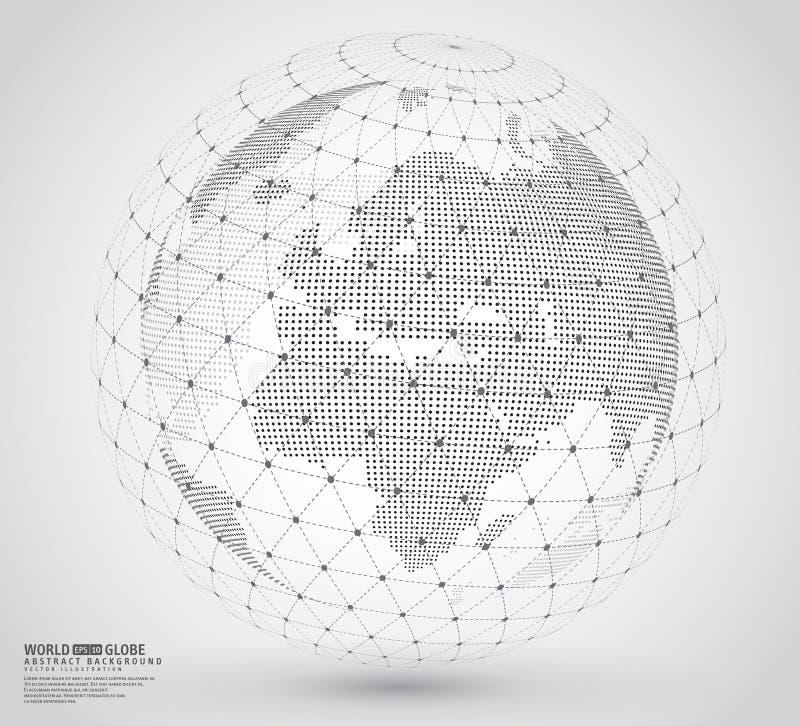 Carte pointillée tridimensionnelle du monde avec la sphère de wireframe illustration stock