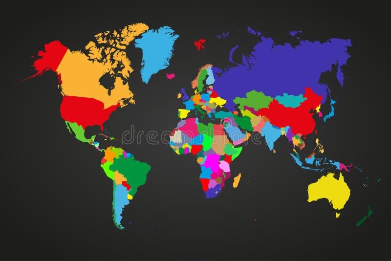 Carte politique colorée du monde avec les pays souverains et les plus grands territoires non autonomes Différentes couleurs pour  illustration libre de droits