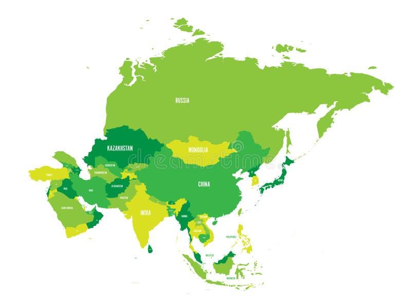 Carte politique de continent de l'Asie aux nuances du vert Illustration de vecteur illustration libre de droits