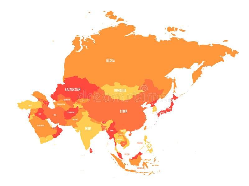 Carte politique de continent de l'Asie aux nuances de l'orange Illustration de vecteur illustration de vecteur