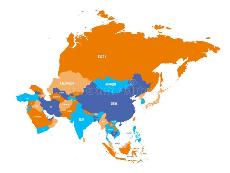 Carte politique de continent de l'Asie Illustration de vecteur illustration stock