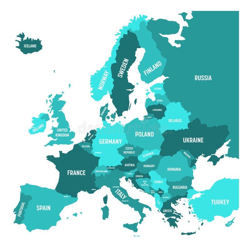 Carte politique de continent de l'Europe à quatre nuances de bleu de turquoise avec les labels blancs de nom du pays et d'isoleme illustration libre de droits
