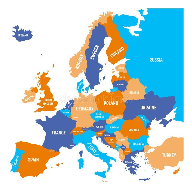 Carte politique de continent de l'Europe dans quatre couleurs avec les labels blancs de nom du pays et d'isolement sur le fond bl illustration stock