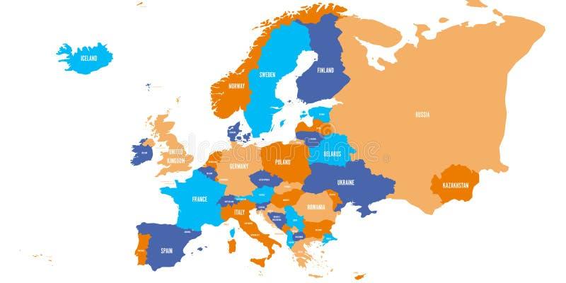 Carte politique de continent de l'Europe dans quatre couleurs avec les labels blancs de nom du pays et d'isolement sur le fond bl illustration de vecteur