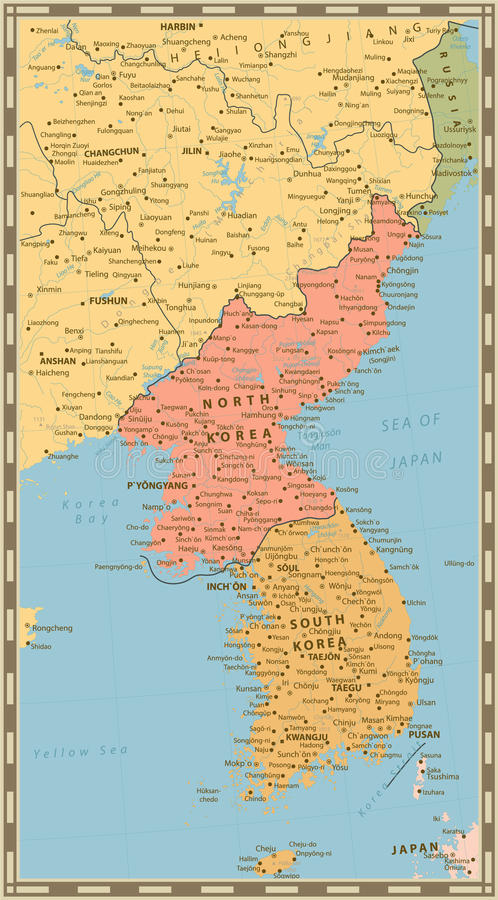 Carte politique de couleur de vintage de la péninsule coréenne, carte de Nort illustration libre de droits